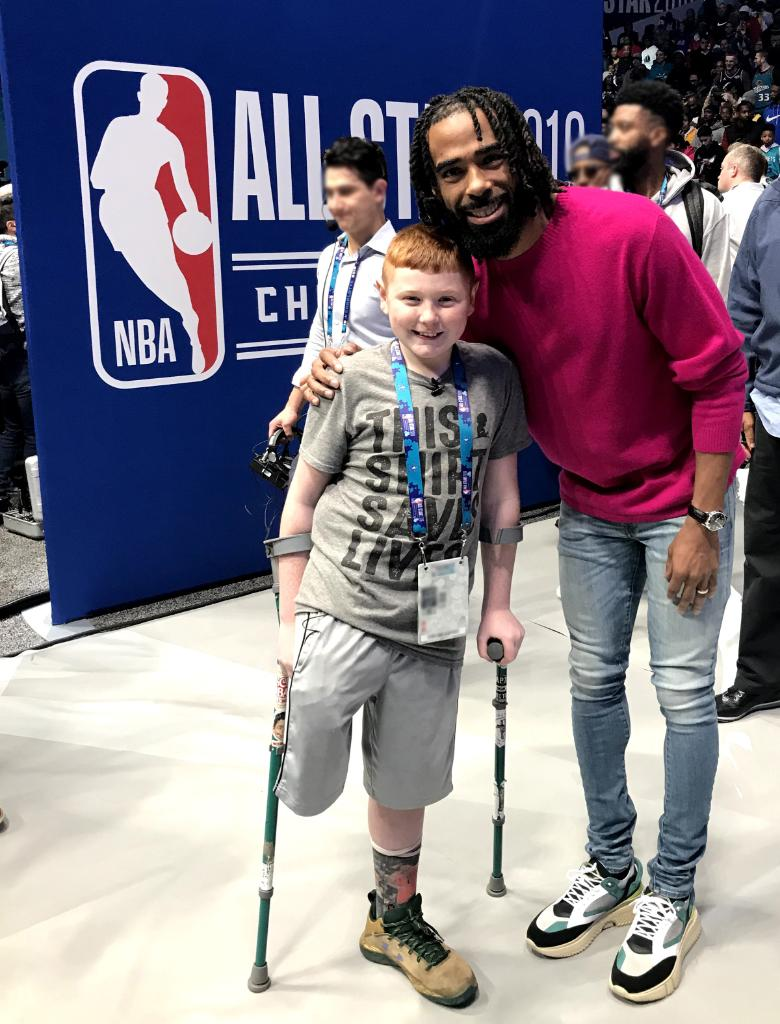 """Last month, St. Jude patient Mack traveled to NBA All Star where he met his favorite @memgrizz player, @mconley11, and several NBA Mascots! Learn more about Mack and his """"robot leg"""" here: http://bit.ly/2TPFl5H"""