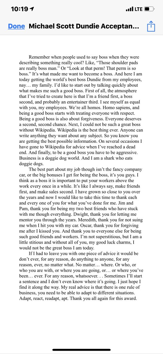 Here's the #MichaelScott #Dundie acceptance speech that listener @kitkatrey3 shared with us! It features a greatest hits of Michael quotes. :)<br>http://pic.twitter.com/WndjpxJLhd