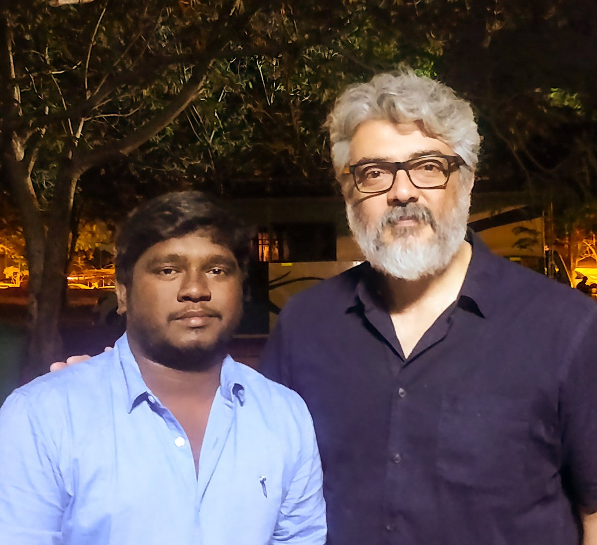 Finally a pic with #Thala🤩 Thanks to @dhilipaction Master🙏 and Director #HVinoth 🙏 #NerKondaPaarvai...😎😎