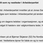 Image for the Tweet beginning: Bjørnar Skjæran (52) er innstilt