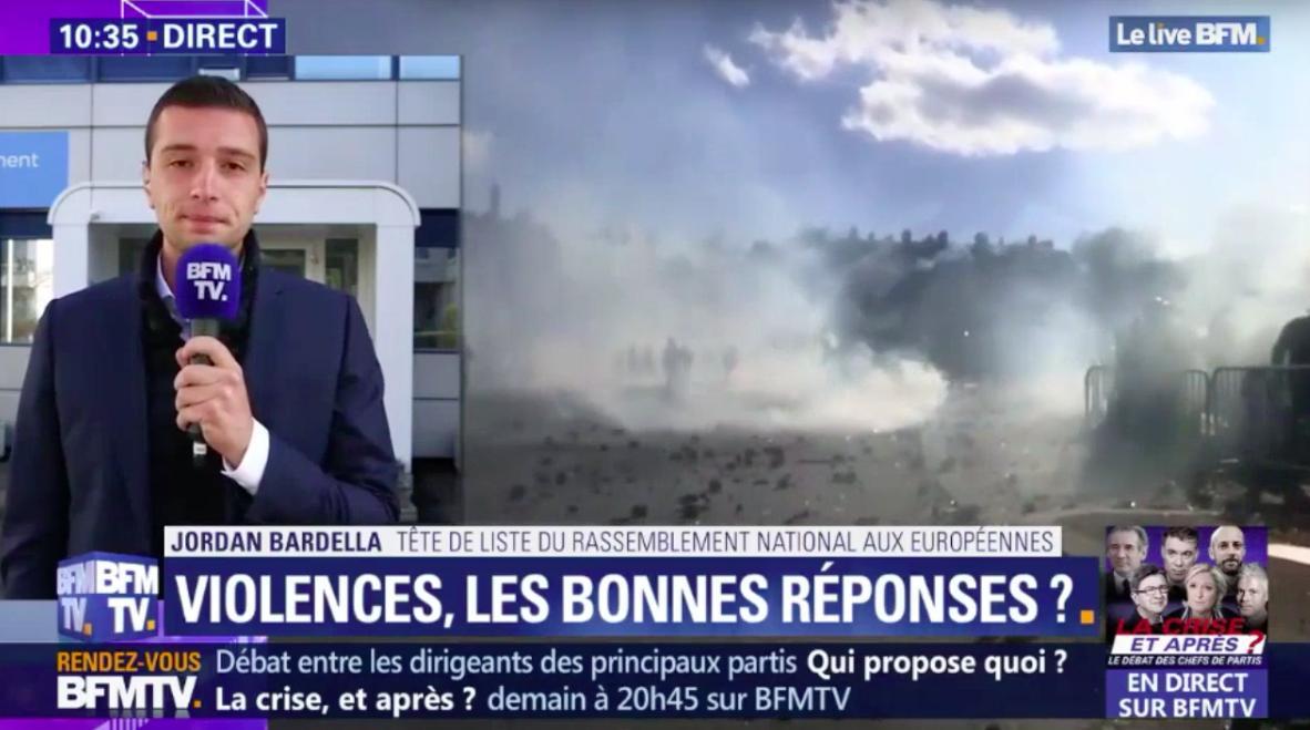 « Je finis par me demander si ce gouvernement n'a pas joué avec le feu durant plusieurs semaines en laissant ces milices d'extrême-gauche venir discréditer les revendications de bon sens des #GiletsJaunes, qui sont celles d'une majorité de Français. » @BFMTV