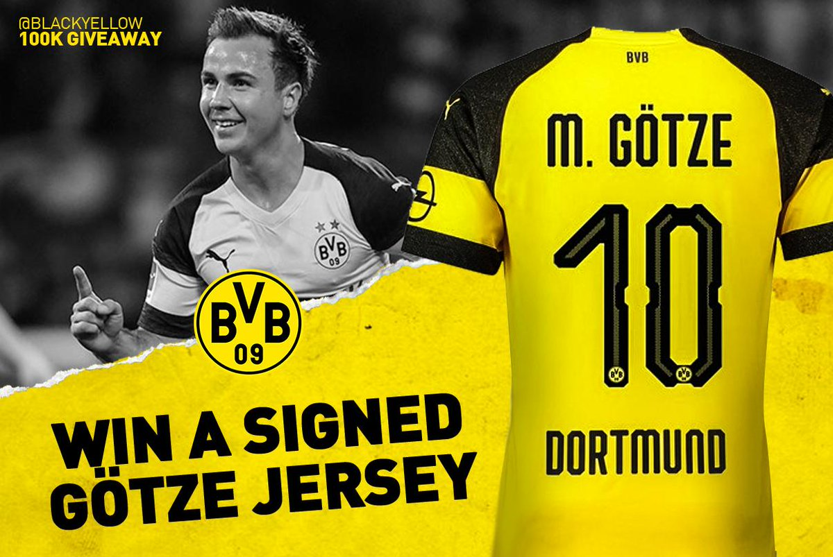 🚨 #BlackYellow100K #1 🚨  To kickoff celebrations, we're giving away a signed Mario Götze jersey!  Follow and retweet now for a chance to WIN! ⚡
