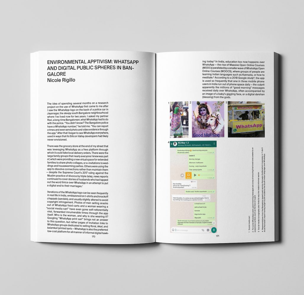 Mini interview with @nicole_rigillo about her essay Environmental Apptivism: WhatsApp and Digital Public Spheres in Bangalore published in Silicon Plateau Vol-2, currently on display @BANNERREPEATER https://www.instagram.com/marialauraghidini/p/BvMAZ53FFl8/?utm_source=ig_share_sheet&igshid=1tg99a827gjq…
