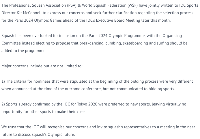 test Twitter Media - 🚨 Statement from @PSA & @WorldSquash regarding concerns with the @Paris2024 @Olympics selection process for additional sports   #Paris2024 #squash2024 #squashgoesgold https://t.co/r7g7XEWnWC