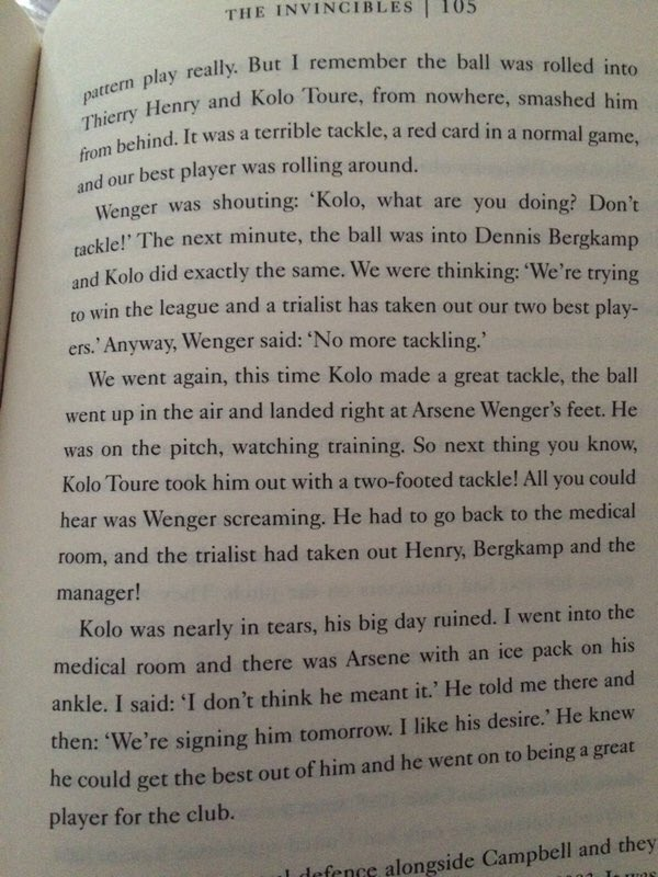 Seeing as it's his birthday, what better time to share the story of his Arsenal trial, prior to signing for the club.  Who would have thought that he'd end up being a crucial part of the only side to win the Premier League without losing. Happy birthday, Kolo Touré! <br>http://pic.twitter.com/kccmi2jd56