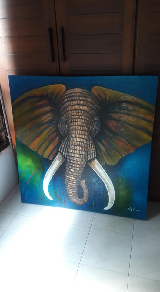 7471ea6c6  Charging  Elephant(Blue Swamp Version)   painting  paintings  art  artwork  purchased last yr msg me 4  affordableart  commissions  commissionsopen   nature ...