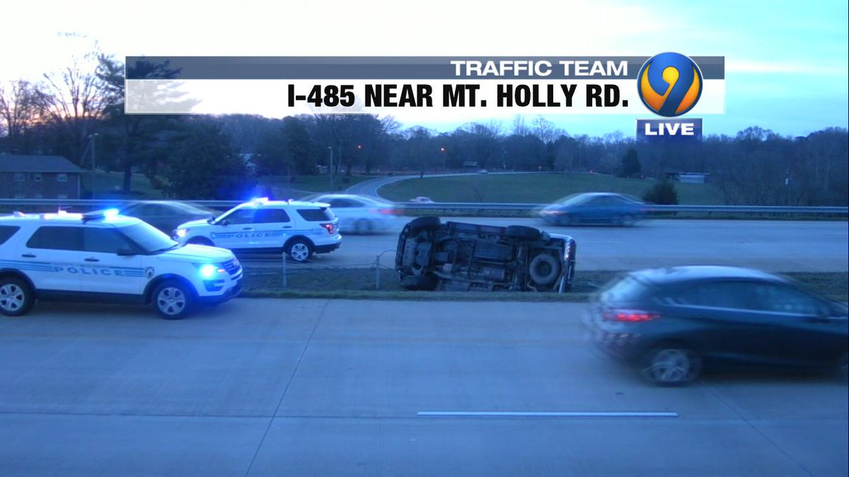 UPDATE: Here is what&#39;s slowing traffic OL I-485 prior to Mt. Holly Rd.  The overturned is in the median but causing heavy onlooker delays #cltraffic #clttraffc #clt<br>http://pic.twitter.com/gofcWoPOAZ