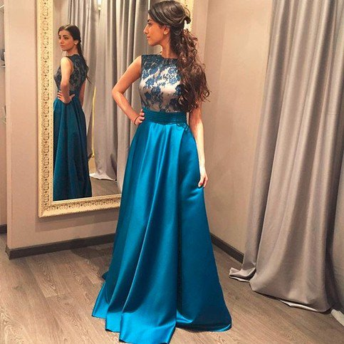 7565808a2f Ulass 2016 Elegant Fashion Satin Prom Dress Long Lace Bodice A-Line Cheap  Teal Blue Prom Gown High Neck https   seethis.co LYlB6Z   slit party gowns  ...