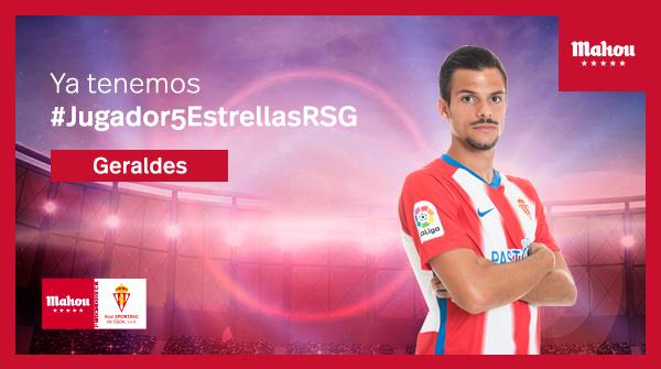 ¡Enhorabuena a Geraldes por ser el #Jugador5EstrellasRSG de febrero! Gracias por vuestros votos. @RealSporting