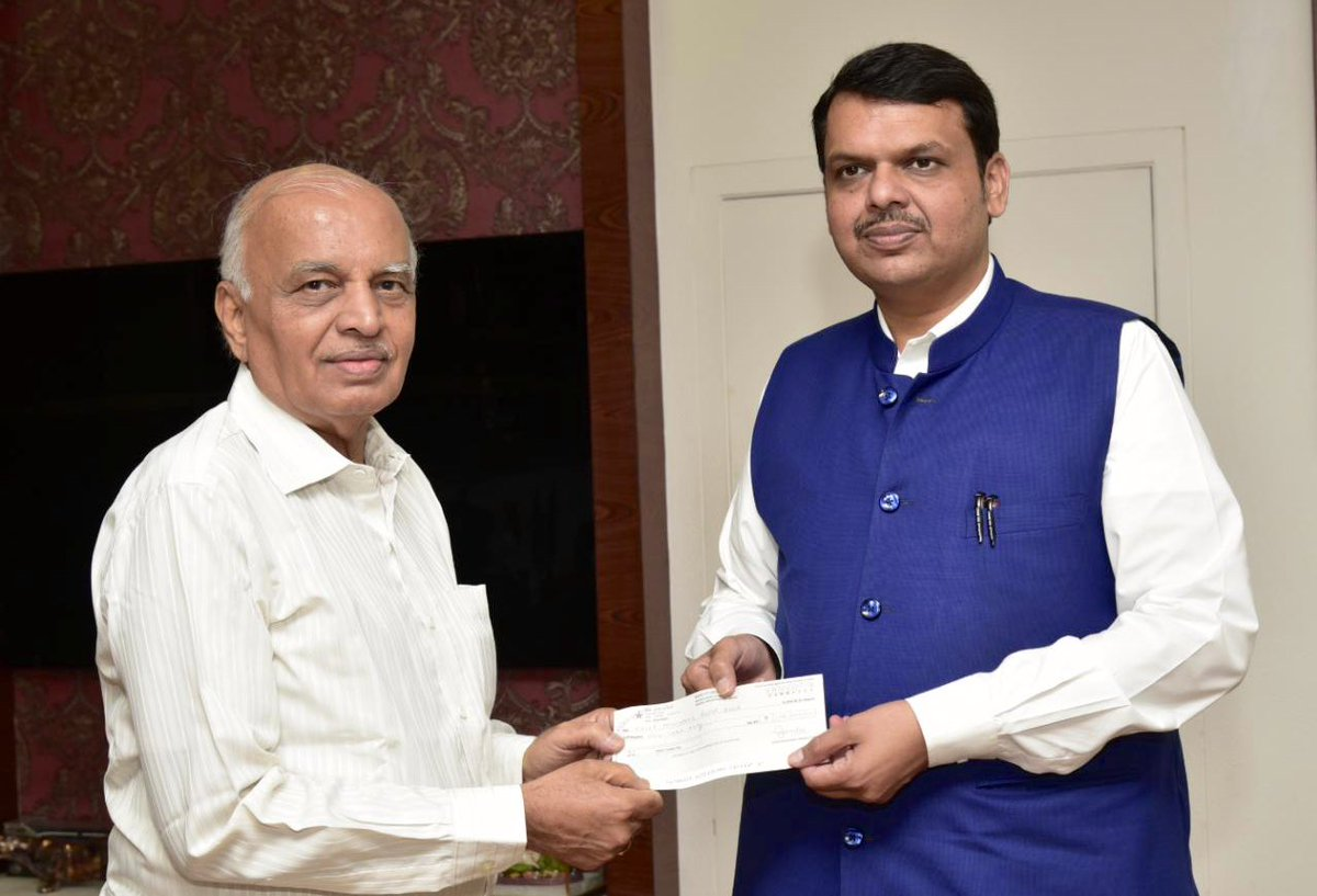 Thank you Ganesh Pendse ji for the contribution of ₹1,00,000/- towards #CMReliefFund . Ganesh Pendse ji donates this amount every year from his pension savings.  Now that's what we call true spirit and commitment towards a social cause !