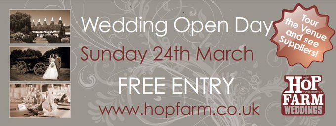 Wedding Open Day THIS SUNDAY at The Hop Farm. Tour the venue, the magnificent grounds and meet a host of hand picked wedding suppliers and wedding products. FREE ENTRY! Register simply with your name(s) by replying to this Tweet. https://t.co/aVHmuCEOJ...