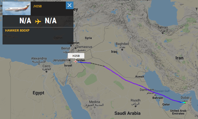 Now: The plane is on its way to Tel Aviv (Via Amman)