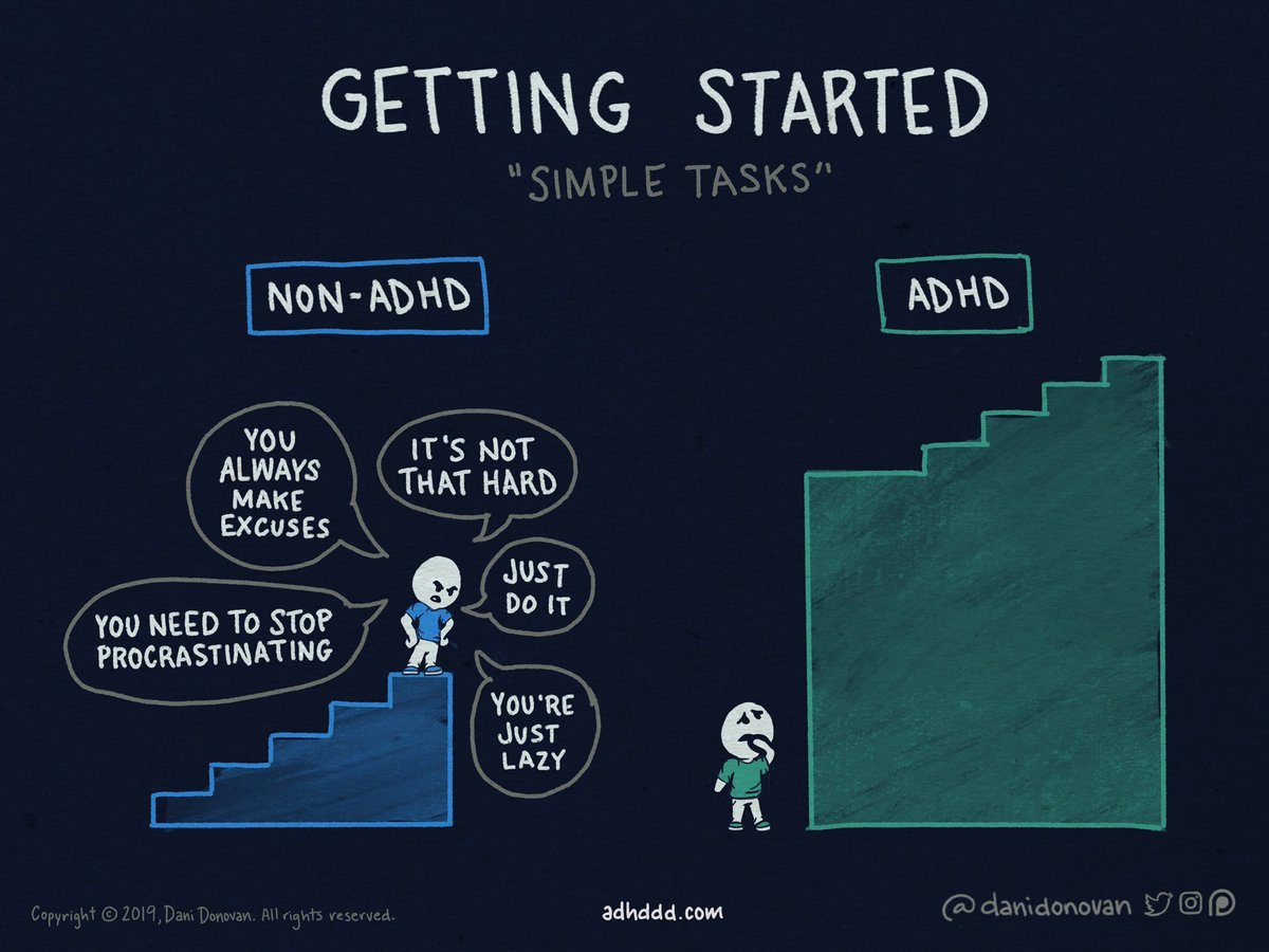 """""""Why can't you just—""""  I don't have a procrastination problem. I have a """"getting started"""" problem. The first step is always the hardest.  Getting enough willpower to initiate action is difficult. Constant shaming wrecks my self-esteem, and teaches me to always blame myself. #ADHD"""