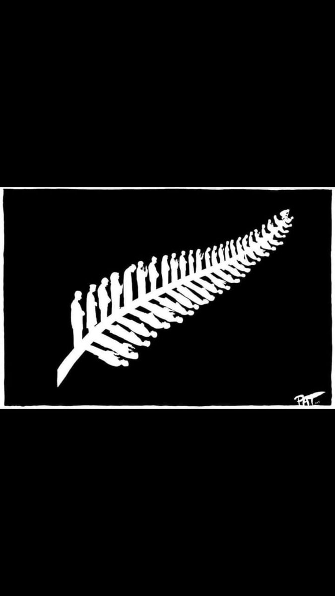 Superb illustration of a society's empathy. New Zealand's iconic silver fern is redrawn... as Muslims in different stages of prayer. (By Pat Campbell, the Canberra Times).