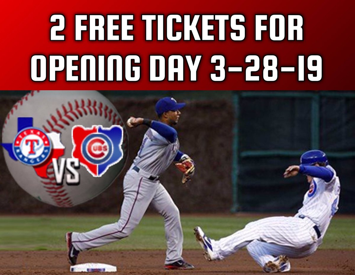 Enter: Win 2 FREE Tickets to the Texas Rangers vs Chicago Cubs game on OPENING DAY 3-28-19 at 3:05pm! Section 340 Row 23 Seats 24, 25.  *Must have smartphone to receive mobile tickets*  To Qualify You Must: **Follow our Twitter **Like this Tweet **Retweet this Tweet **Tag 3 below