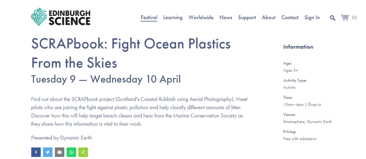Come along to @ourdynamicearth April 9th & 10th to meet the pilots behind the @SCRAPbook_Scot project, try your hand at analysing their photos & speak to @mcsuk about how you can help clean up what they find! All part of the awesome @EdSciFest  - will we see you there? 🛩️📸🚯🌊