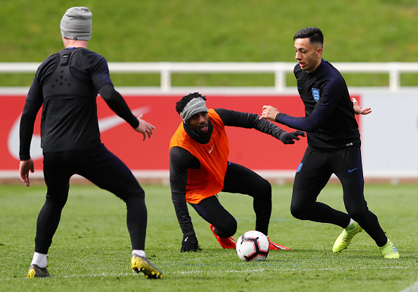 Burnley midfielder Dwight McNeil looking very much at home, during a training session with the full @England squad at St George&#39;s Park today   #twitterclarets #BurnleyFC<br>http://pic.twitter.com/ZGwCbKNd7y
