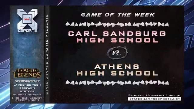 We wrap up our show this week with @cpgraham5 and Ethan W announcing our #GOTW for this week. We see a couple of repeat contenders in @cshseports and @lfhse taking on @troy_athens and @bhs_bucks! So tune in this week to http://twitch.tv/statechampsesports… to see these exciting matchups.