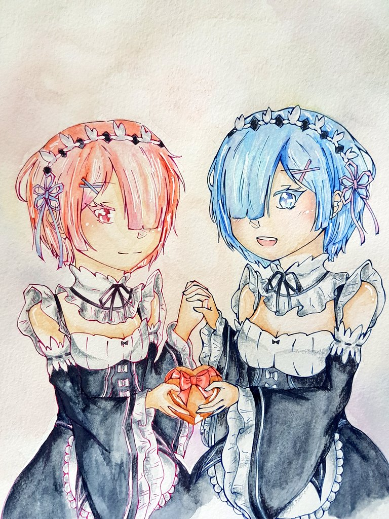 Rem and Ram ╰(*´︶`*)╯♡  Drew this for Valentines&#39; this year  #rem #ram #Valentines #rezero<br>http://pic.twitter.com/Nrqor93Y0E