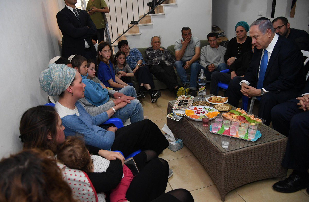 PM Netanyahu Pays Condolence Call to the Family of Rabbi Achiad Ettinger in Eli