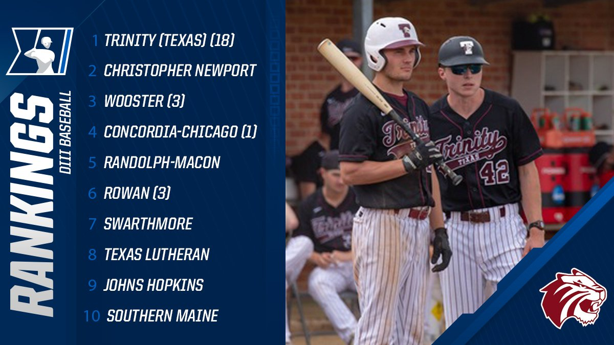 New  http:// D3baseball.com  &nbsp;   / @NCBWA Top 25 1. Trinity TX 2. Christopher Newport 3. Wooster 4. Concordia-Chicago 5. Randolph-Macon 6-25:  https:// on.ncaa.com/2HgvQHK  &nbsp;  <br>http://pic.twitter.com/fmTvSjt71y