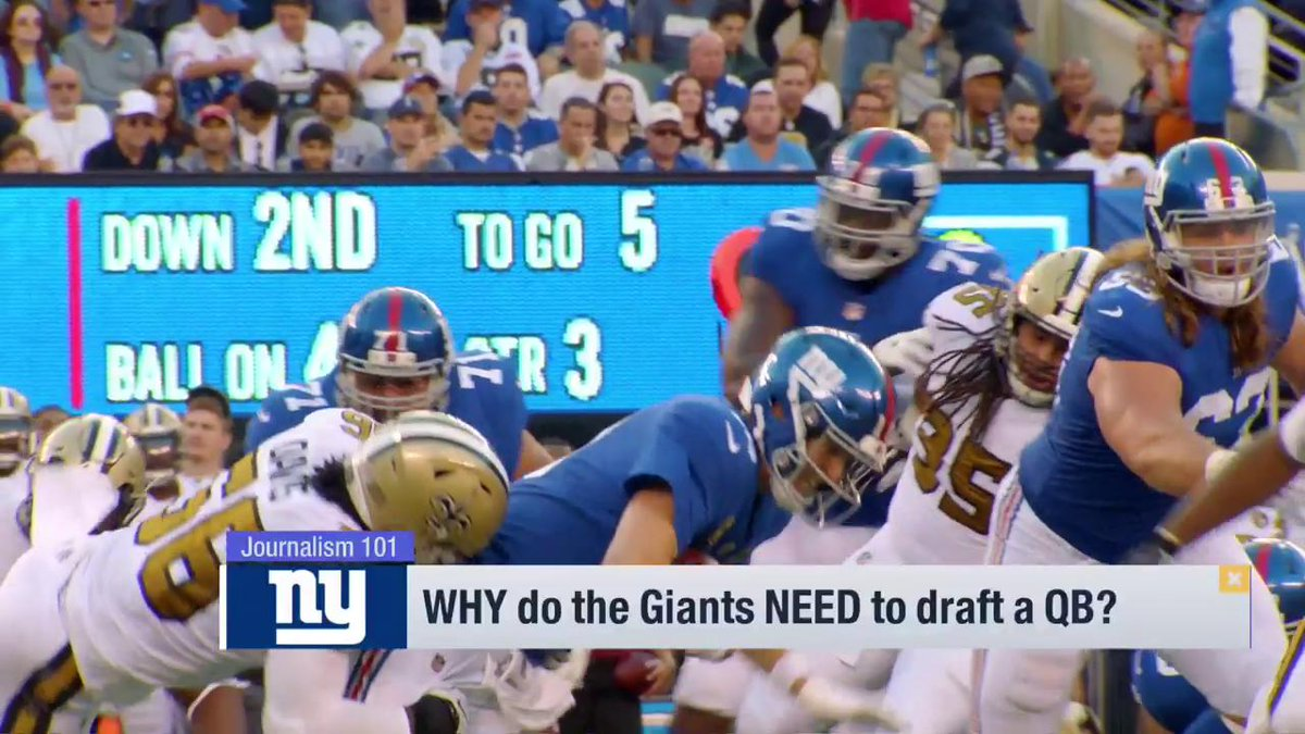 """The Giants have to draft a quarterback, right?  @PSchrags says they need to be careful.   """"You don't want to go grocery shopping when you're hungry. If you love Dwayne Haskins, draft him. If you don't, there's blue chip defensive talent all over this Draft."""""""