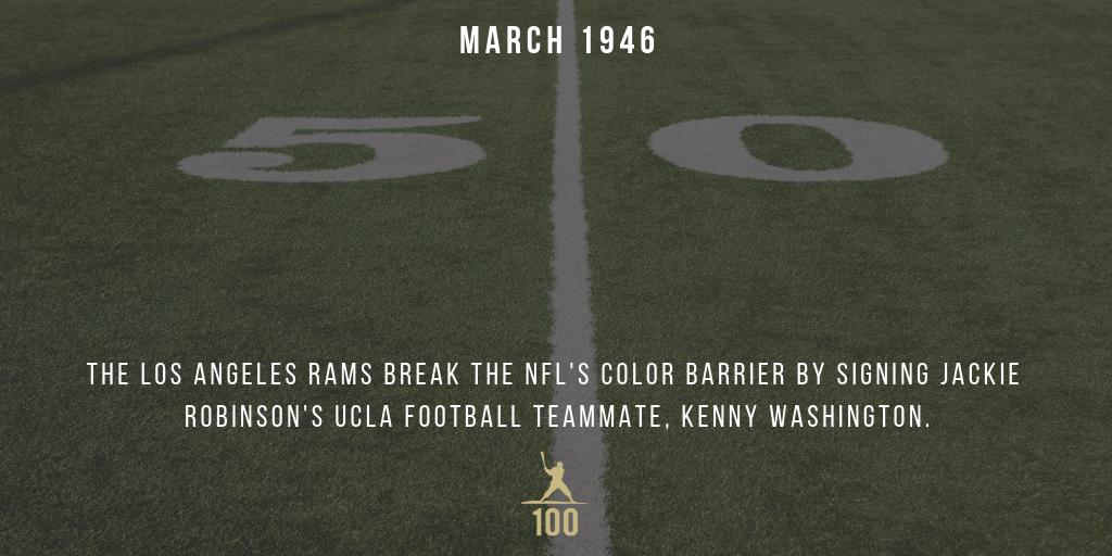 March 1946 | The Los Angeles Rams sign break the NFL's color barrier by signing Jackie Robinson's UCLA football teammate, Kenny Washington. #JackieRobinson #JR100