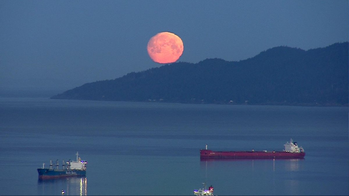 Looking northwest from Vancouver...the moon is just about to set... <br>http://pic.twitter.com/jetT6yXRG8