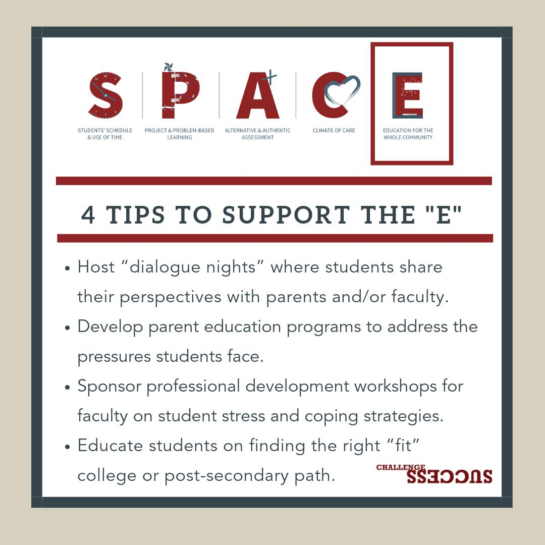 """4 tips to support the """"E"""" - Education for the Whole Community  http:// bit.ly/2E30a3w  &nbsp;   #challengesuccess #sel #studentwellness via @chalsuccess<br>http://pic.twitter.com/rfHu7fcOLj"""