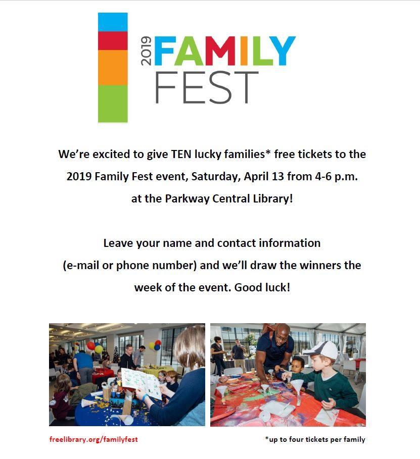 #FamilyFest is back on Saturday, April 13th! This is a very special fundraising event at the Parkway Central Library but wait, if you stop by Central Children's you can sign-up to win a chance at FREE tickets! (Tickets can be purchased at link below.) https://libwww.freelibrary.org/calendar/event/86253… …