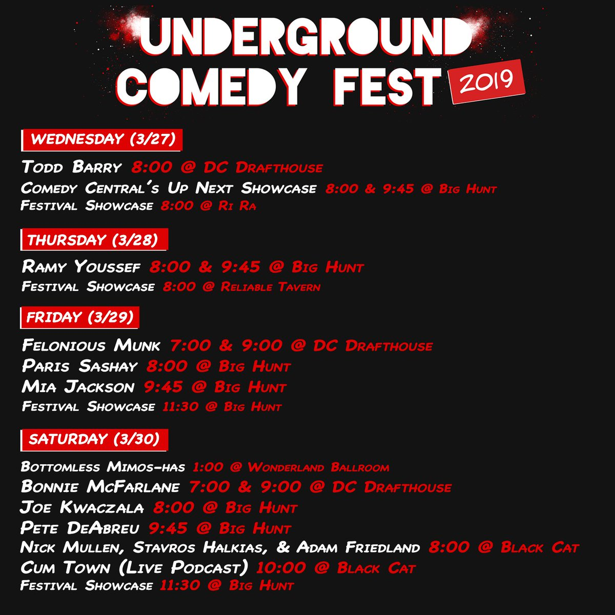 AND WE'RE BACK!!! Look at that beautiful 2019 schedule. Go get those tickets at http://www.undergroundcomedyfest.com .