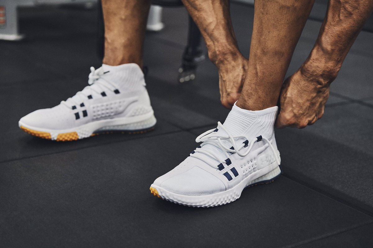 """Don't listen to the voice inside of your head saying """"you can't."""" Listen to @TheRock saying """"go beyond.""""Train your mind and body to rise above all limitations in the #ProjectRock1s and#BendBoundaries Collection on 3/21. #BuildTheBelief #WEWILL"""