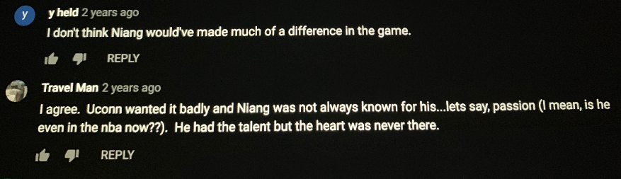 This is an all-time comment on the game replay of Iowa State&#39;s game against UConn in the 2014 NCAA Tournament.  Having Georges Niang for that game wouldn&#39;t have mattered because he actually didn&#39;t give a shit about basketball. <br>http://pic.twitter.com/HmXmKlpnVu