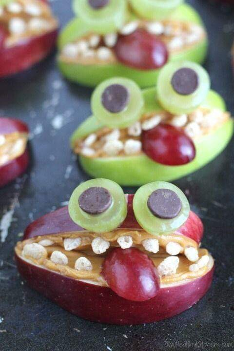 Apple MONSTERS via Two Healthy Kitchens. #GhastlyGastronomy <br>http://pic.twitter.com/NhnVWKMGZ9