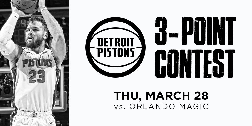 Got a good three-point shot?   Compete in our competition March 28 before you watch us take on the Magic - the top two will do a shoot-off in game to determine the champion! http://bit.ly/PistonsThreePoint…