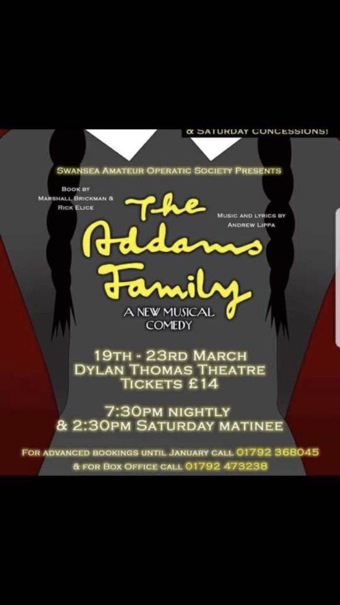 Wishing all our friends @swanseaaos all the best for their run of The Addams Family! Can't wait to watch it! Click click!! #whenyouranaddams #pulled https://t.co/GhfjnJT78b