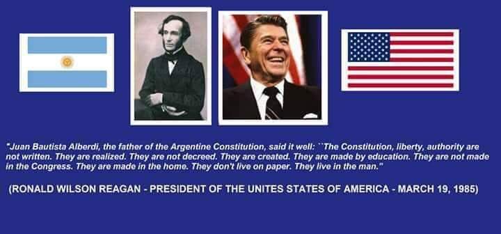 Hoy es el aniversario en el que Ronald Reagan le mencionó a San Martín y Alberdi a Alfonsín en su visita oficial. 19/3/1985