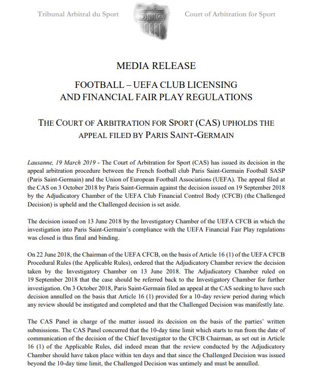 💥 El Tribunal de Arbitraje Deportivo ha cerrado el expediente contra el @PSG_inside sin sanción  💰 La @UEFAcom abrió un expediente contra el club tras fichar a @KMbappe y @neymarjr   ❌ El TAS admite el recurso del PSG porque la UEFA presentó las alegaciones fuera de plazo