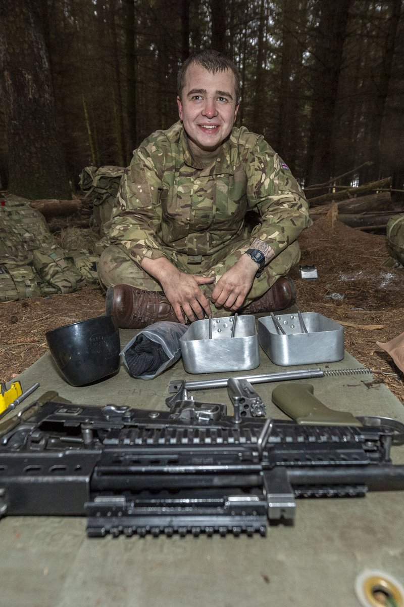 It is early in the morning at the Infantry Training Centre in Catterick. ⏰ A recruit is making sure his weapon and kit are battle ready. #britisharmy #training