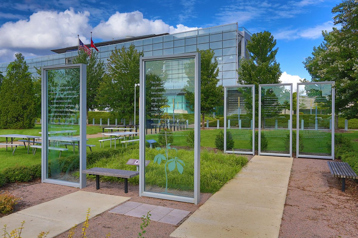 It's a nice day to enjoy the Clinton Presidential Park and see our two outdoor exhibits: The Anne Frank Tree installation and Cultural Heroes.
