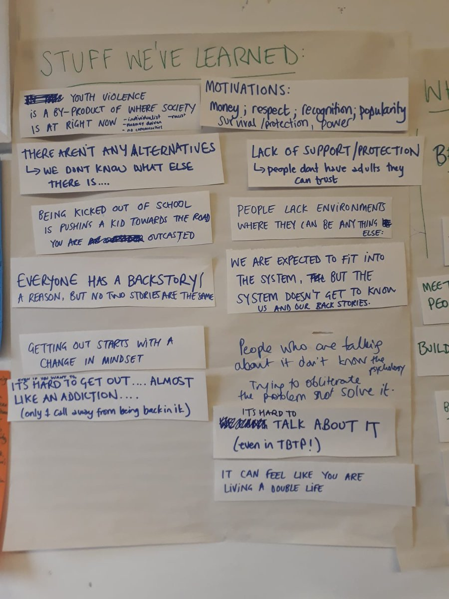 We're drafting our findings... we listened to trends in our stories, thought about what helped us out, what sorts of actions are needed to end #YouthViolence. Some of them we'll take action on, others we hope will inspire other useful interventions. Love to hear your thoughts?