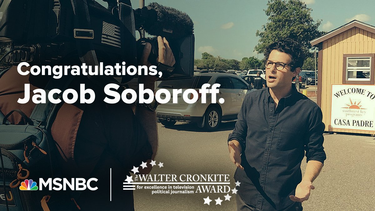 Congratulations to @jacobsoboroff and @MeetThePress on being named winners of the Walter Cronkite Awards for Excellence in Television Political Journalism