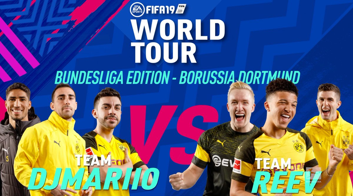 GAME ON! 🎮  Watch @cpulisic_10, @Sanchooo10 and @TheReevHD take on @AchrafHakimi, @paco93alcacer, and @DjMaRiiO_90 in a #FIFA19 showdown! 🤝