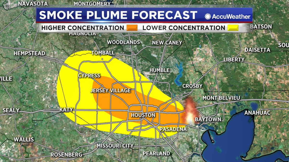 NEW at NOON: Here&#39;s a look at the latest smoke plume forecast from the National Weather Service through 6 pm tonight. The smoke today should move more towards the northwest today due to a wind shift.   More on the fire at  https:// abc13.com/itc-official-g ives-tearful-apology-to-residents-for-facility-fire/5205019/ &nbsp; … <br>http://pic.twitter.com/PxQe6WUuNp