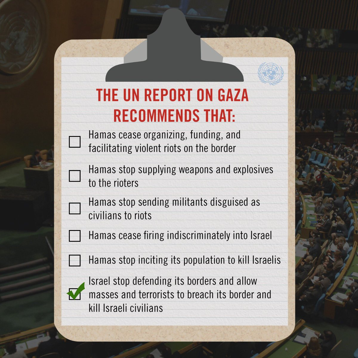 We think the @UN forgot some recommendations in its report on the Gaza riots... @UN_HRC<br>http://pic.twitter.com/XdpHMkXWCG