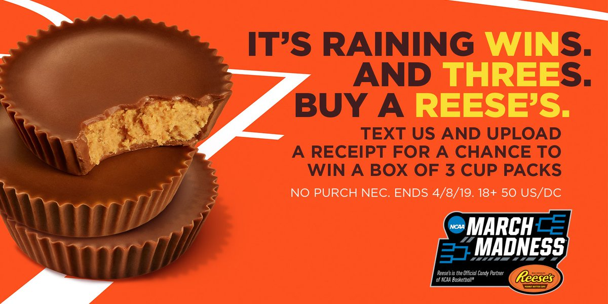 "Buy a Reese's. Text ""Reeses"" to 604333 for a chance to win a box of 3-cup packs. #NotSorry #Sweepstakes. See Rules: http://bit.ly/2JntVlK"