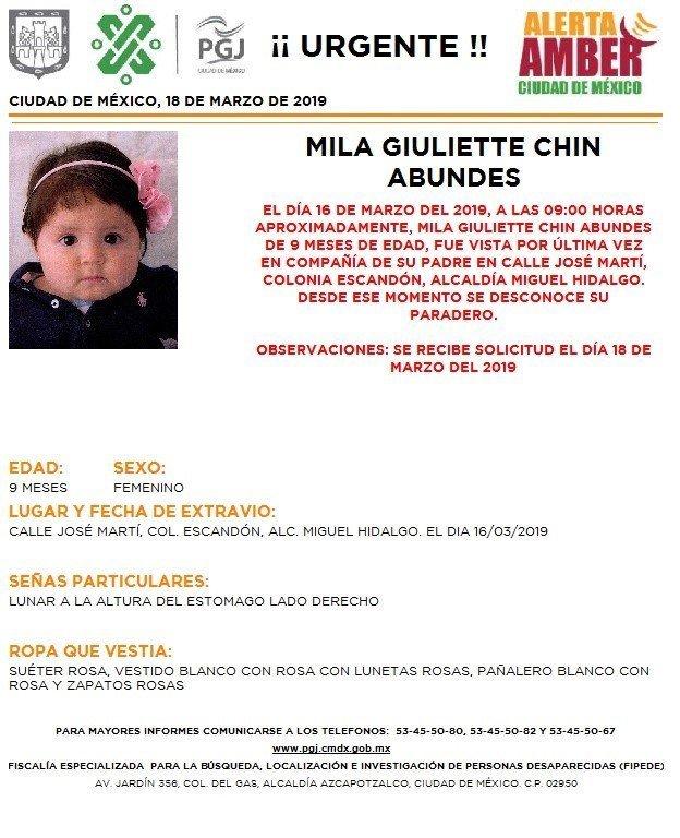 Alerta Amber: Ayuda a localizar a Mila Giuliette Chin Abundes http://ow.ly/j8x330o6VBo
