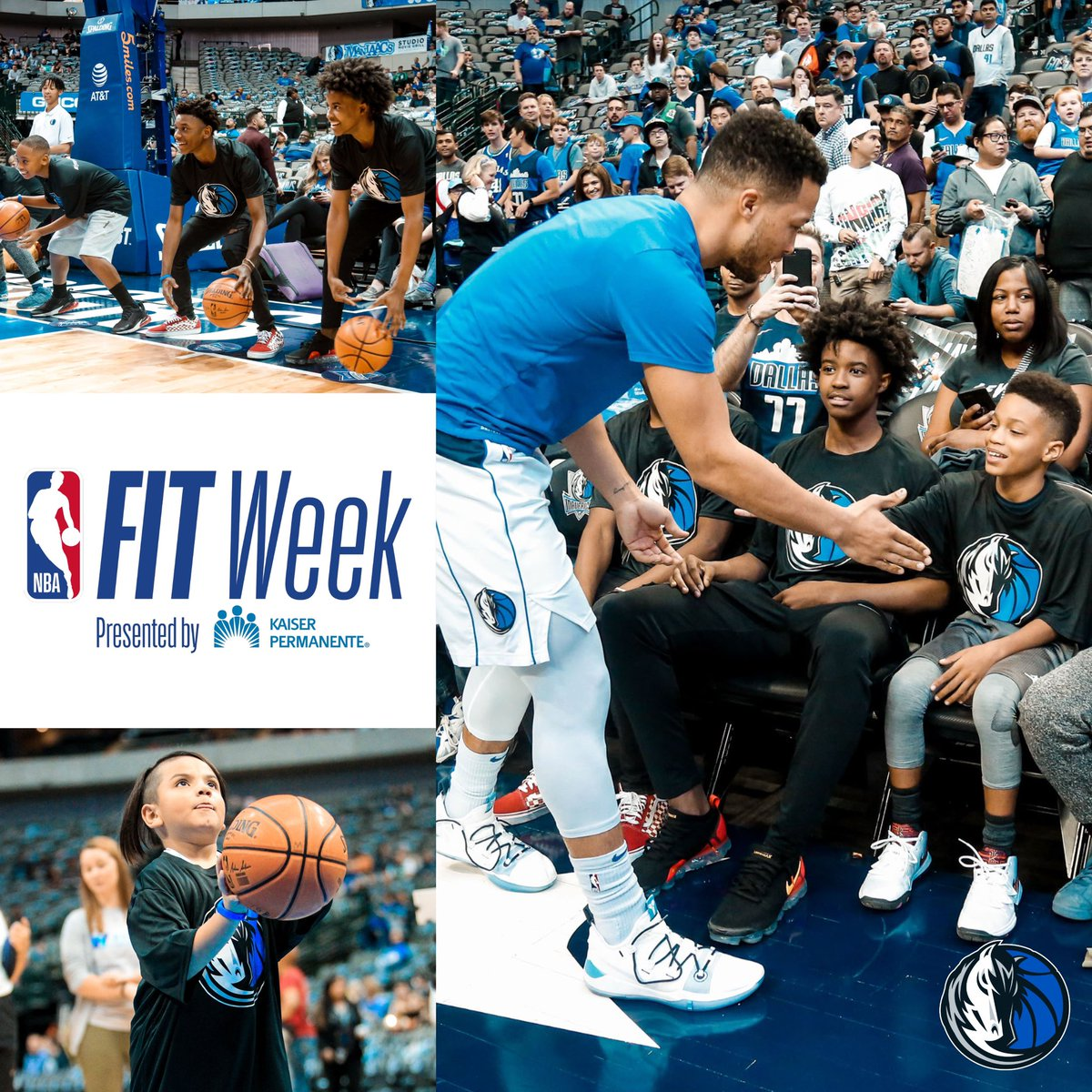 To celebrate NBA Fit Week @JalenBrunson1 and @MavsAcad took some time pregame to work with young hoopers. @NBAcares   #MFFL