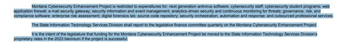 Section A has $6.3 million for the Montana Cybersecurity Enhancement Project. Here's what that is: