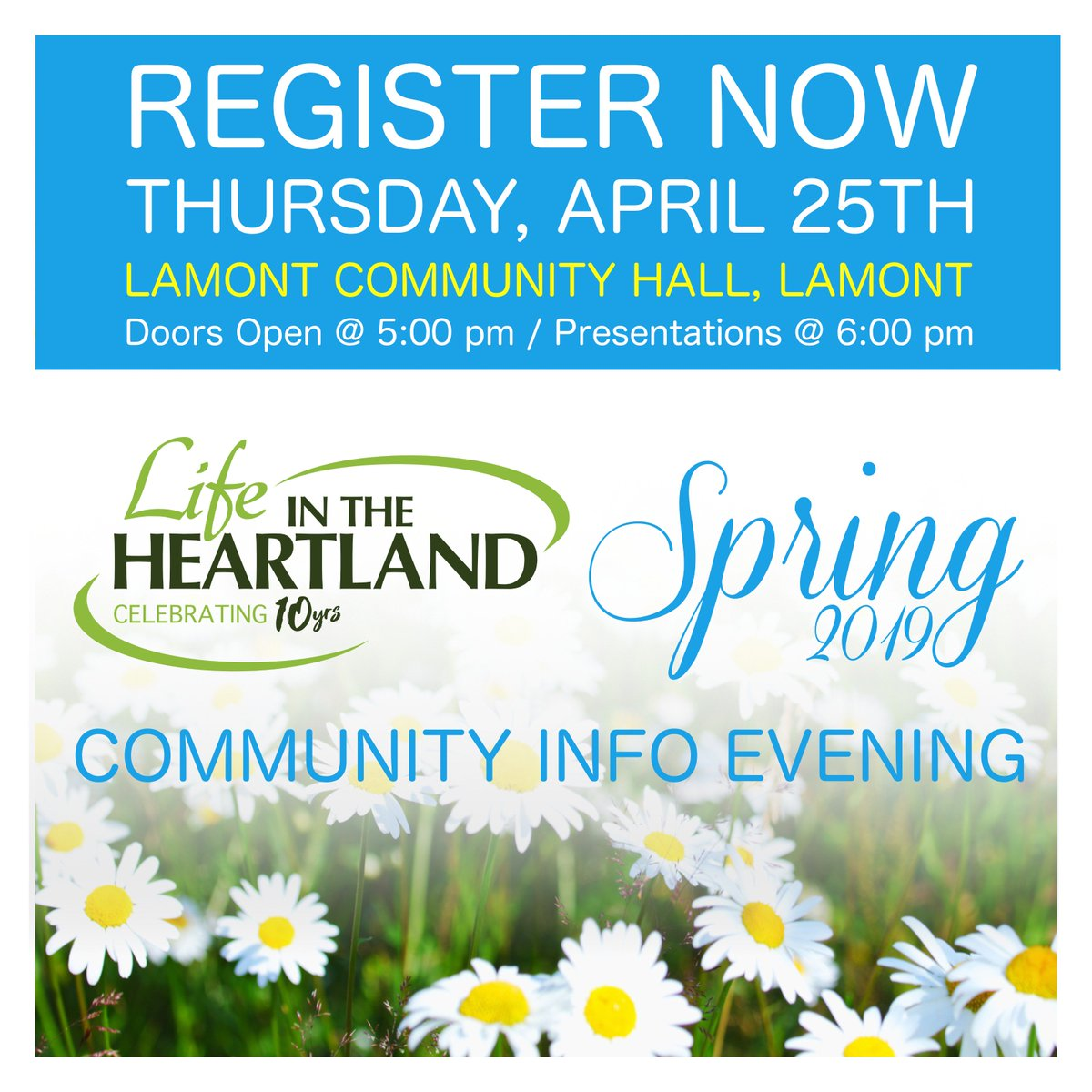 Registration Now Open!  Community Info Evening.  5 EASY WAYS TO REGISTER:   1. Visit our website: http://www.lifeintheheartland.com   2. Click here: http://bit.ly/lithreg  3. Message us on Facebook or Twitter  4. Send a text or call: 780-243-7453  5. Email info@lifeintheheartland.com